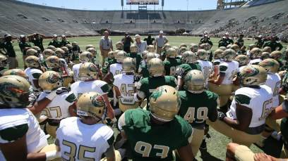 UAB Blazers on the field! Team huddle