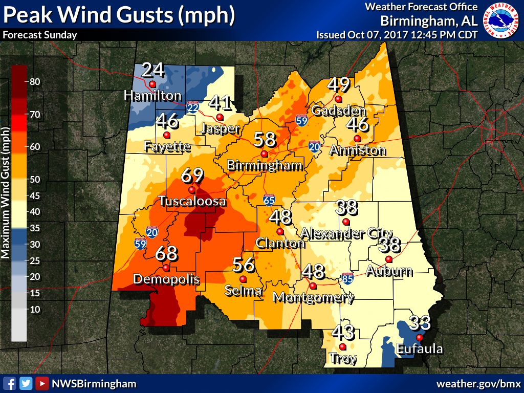 Hurricane Nate – expect windy weather Birmingham