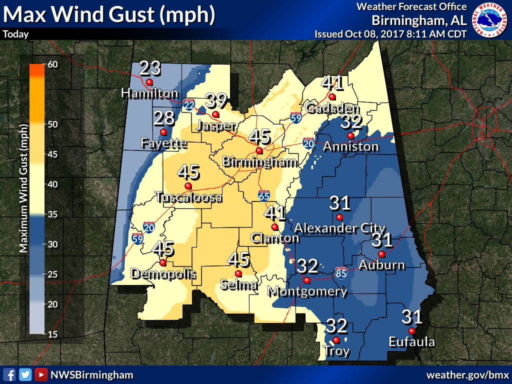 Nate wind speeds forecast lowered for Birmingham – remain prepared