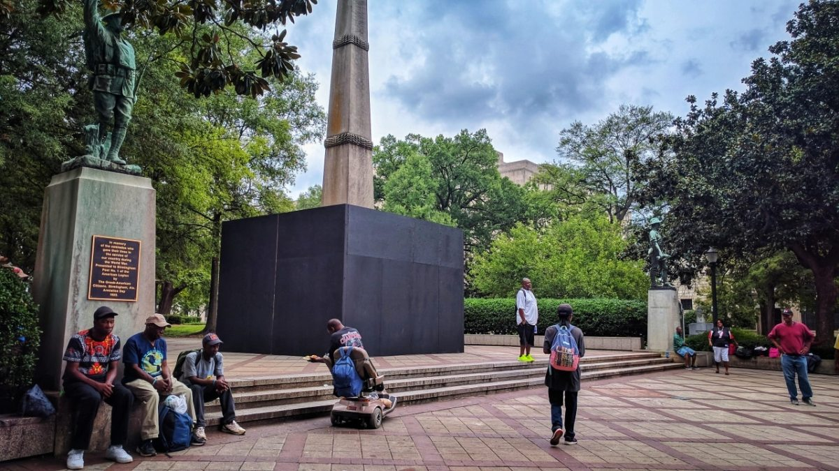Plywood covering Confederate monument will stay for now