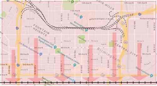 Birmingham, Alabama, downtown, traffic, map