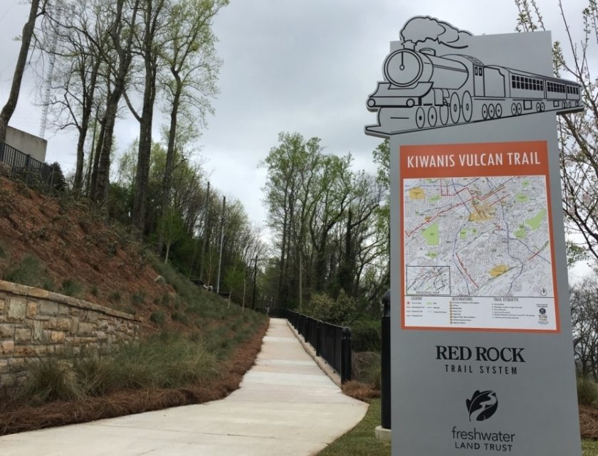 The Kiwanis Vulcan trailhead at Vulcan Park and Museum. (Photo courtesy of Freshwater Land Trust)
