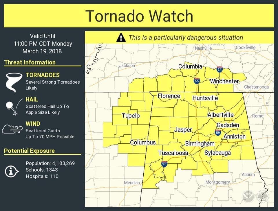 Weather update: tornado watch in effect for Jefferson County