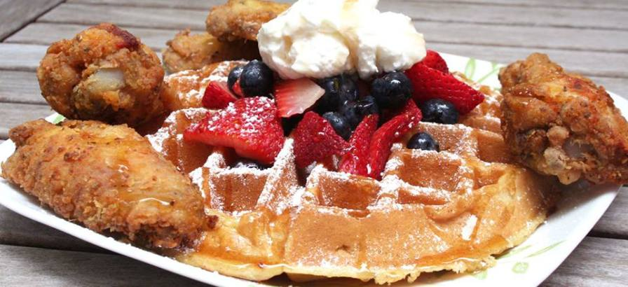 Order the chicken and waffles from Yo Mama's. Both are gluten-free. Photo via Yo' Mama's Facebook.