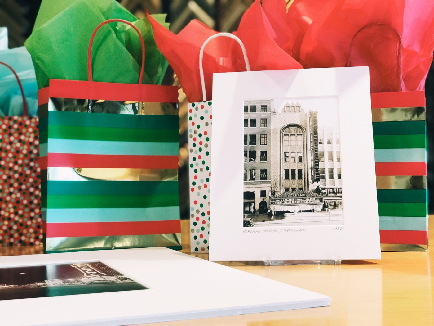 Restored documents and historic photos packaged and ready for the holiday season.