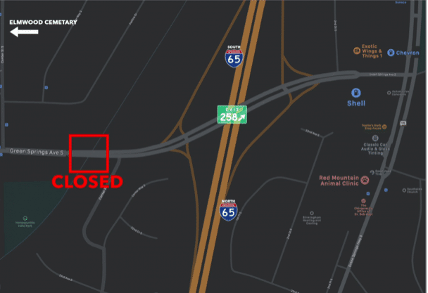 Birmingham's Green Springs Avenue Bridge off exit 258 is closed till March 2019
