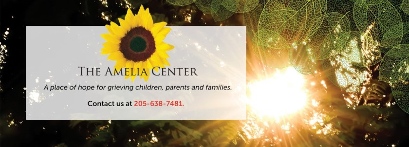 Amelia Center logo for a piece on holiday depression in Birmingham. Hope for grieving children, parents, and families. And, a Blue Christmas service.