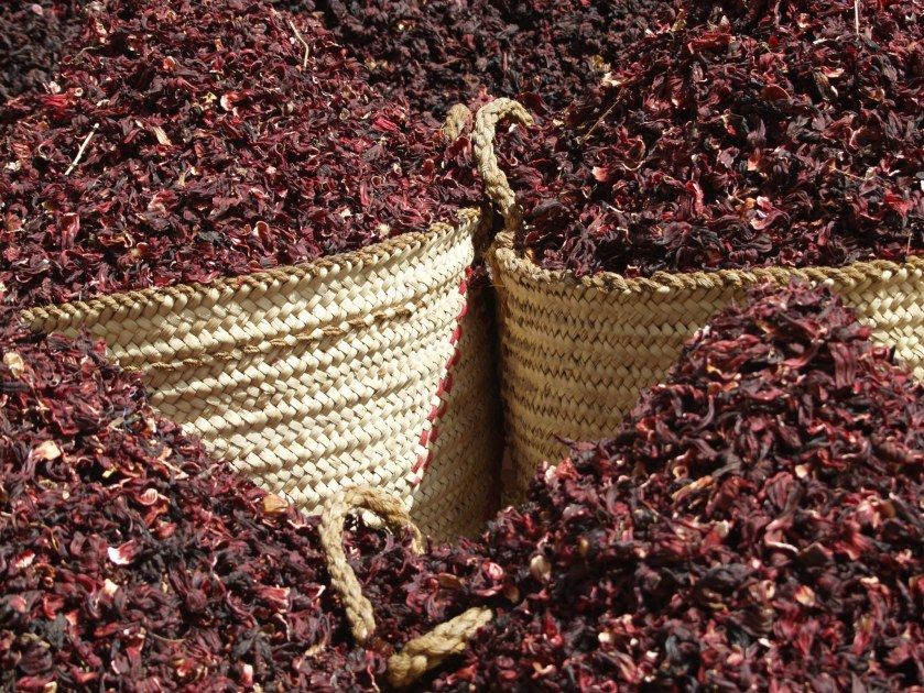 LeNell Comacho Santa Ana's favorite bonfire fare is hot hibiscus. Dried hibiscus flowers in a market.