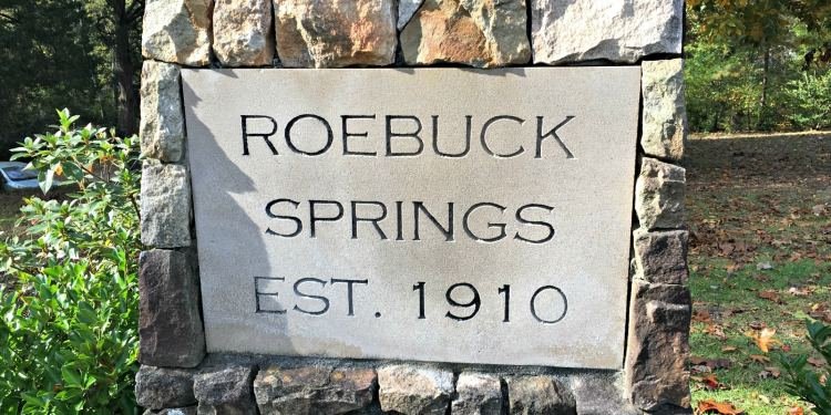 Stone marker for Roebuck Springs from 1910. Home of the Roebuck Springs potters.