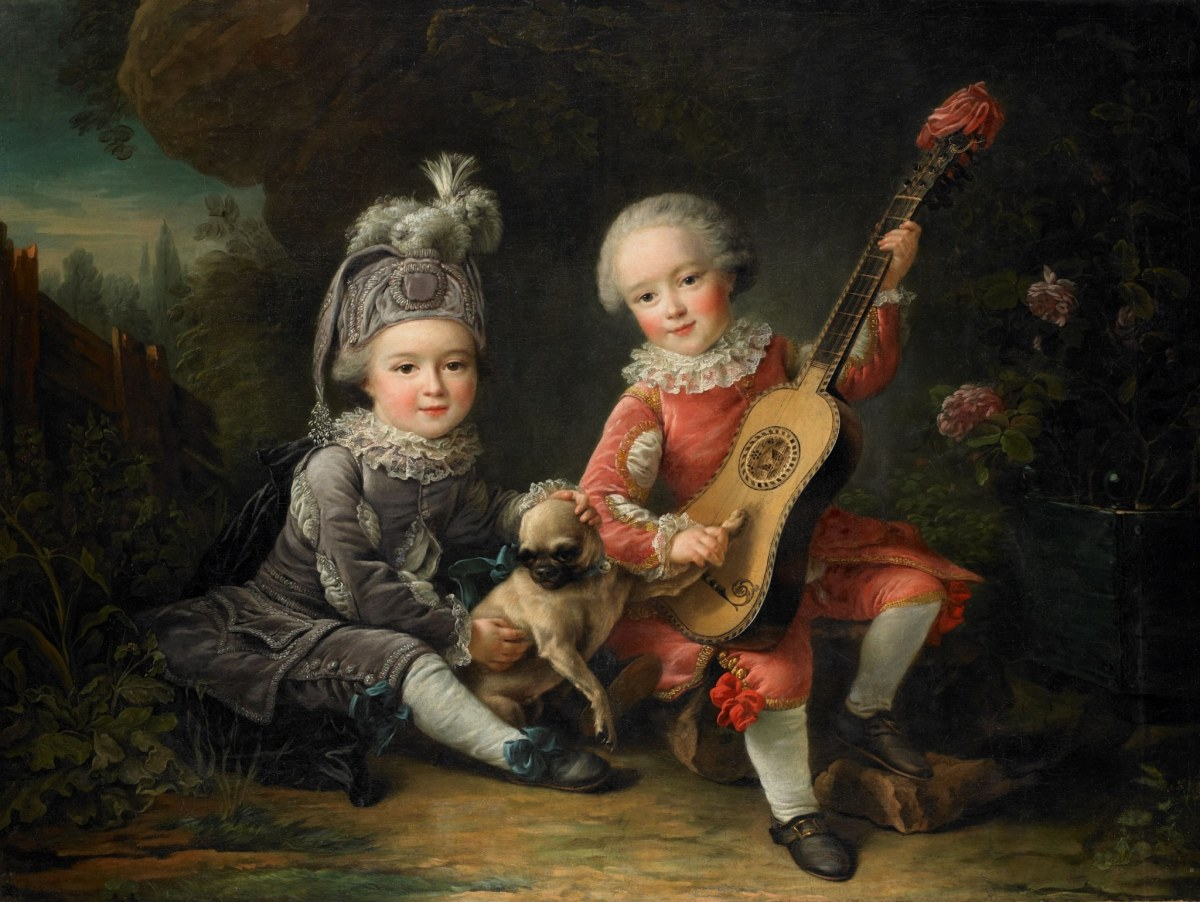 Children of the Marquis de Bethune Playing with a Dog