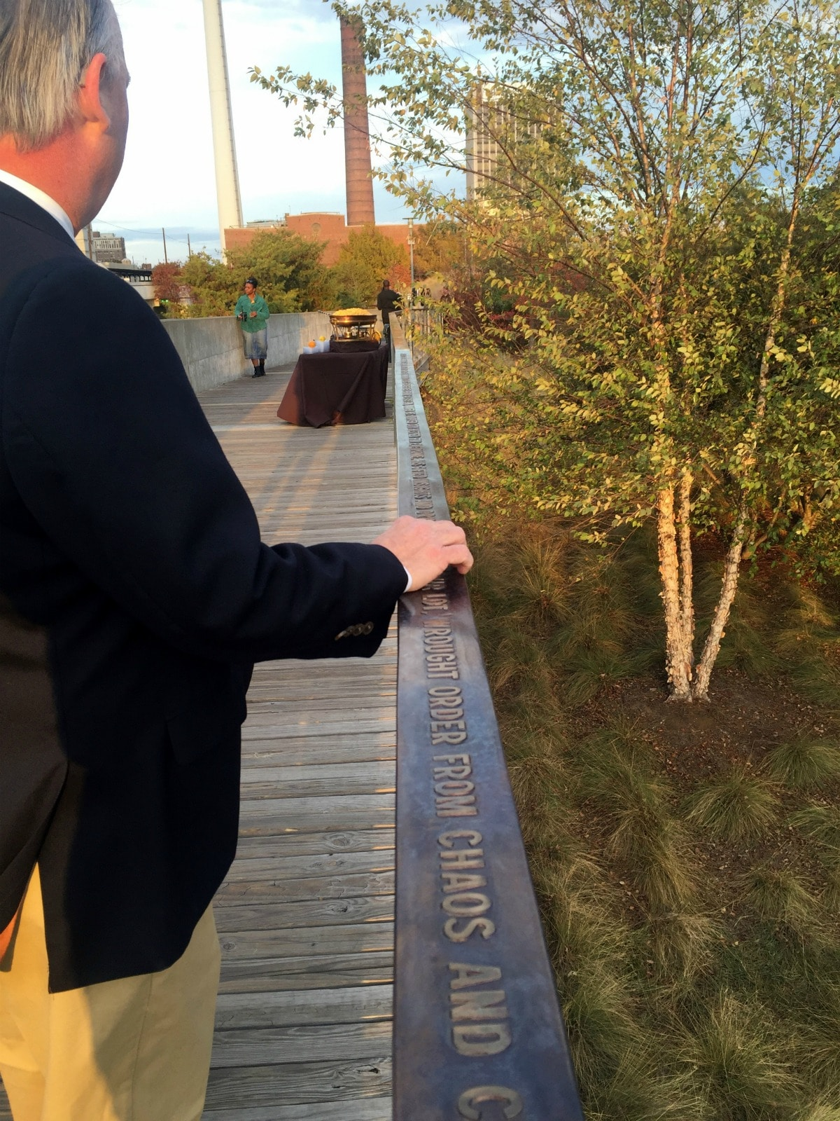 Giles with sculptor Brad Morton's railing at Railroad Park