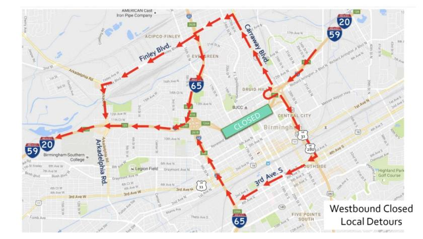Soon 20/59 closes. There are several ways to get from 20/59 on the eastern side of town to 20/59 on the western side.