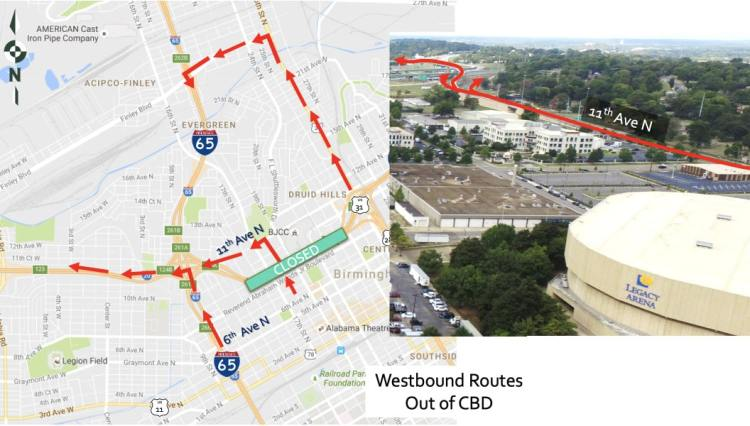 Soon 20/59 closes. There are several ways to get back out of  downtown Birmingham heading West.