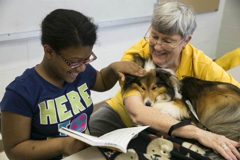 With Animal-Assisted Therapy, Hand in Paw helps young people learn to read