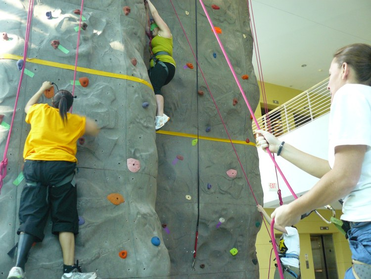 Some of the women climbers in Birmingham are at the Lakeshore Foundation.