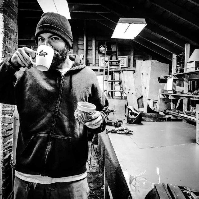 Adam Bodine is one of 5 Birmingham artists you'll want to get to know. Here he is in his studio.