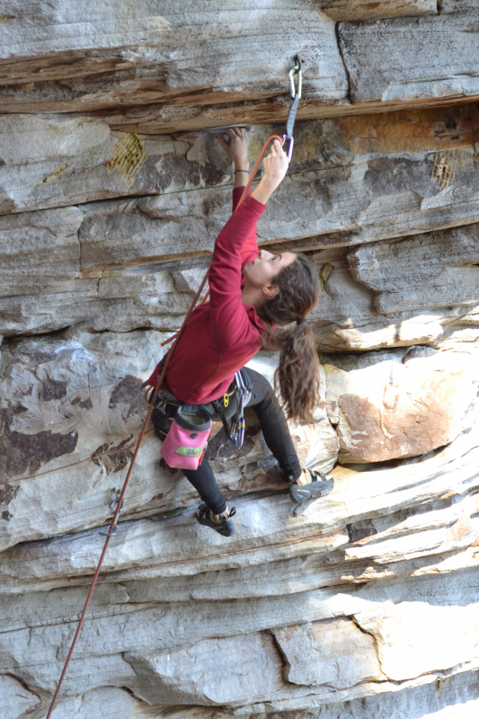 Kayla Lamb is one of the women climbers in Birmingham. Here she is climbing at Little River Canyon.