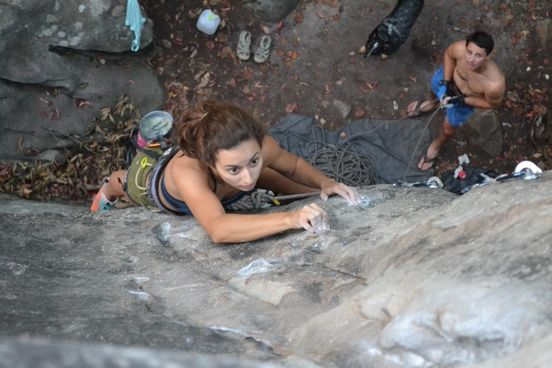 Kayla Lamb is one of the women climbers in Birmingham. Here she is at Sand Rock, in Alabama.