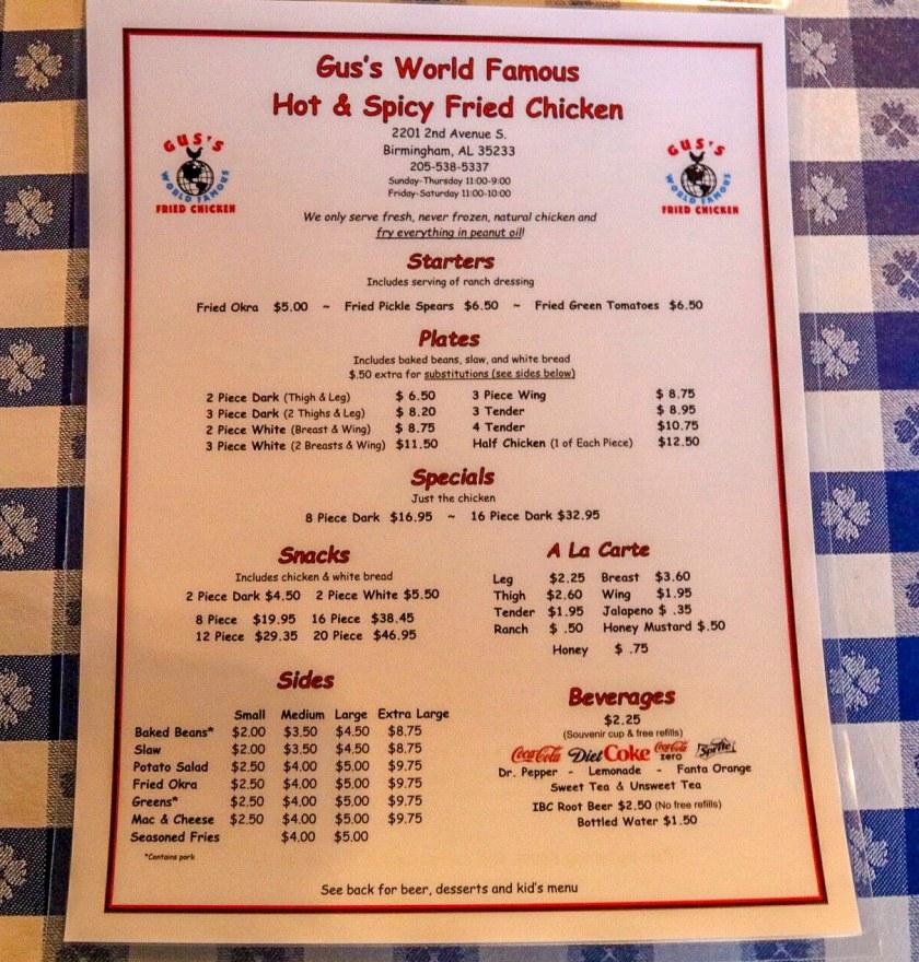 Birmingham, Alabama, Gus's Fried Chicken, The Battery, menuGus's Fried Chicken (Jacob Blankenship/Bham Now)