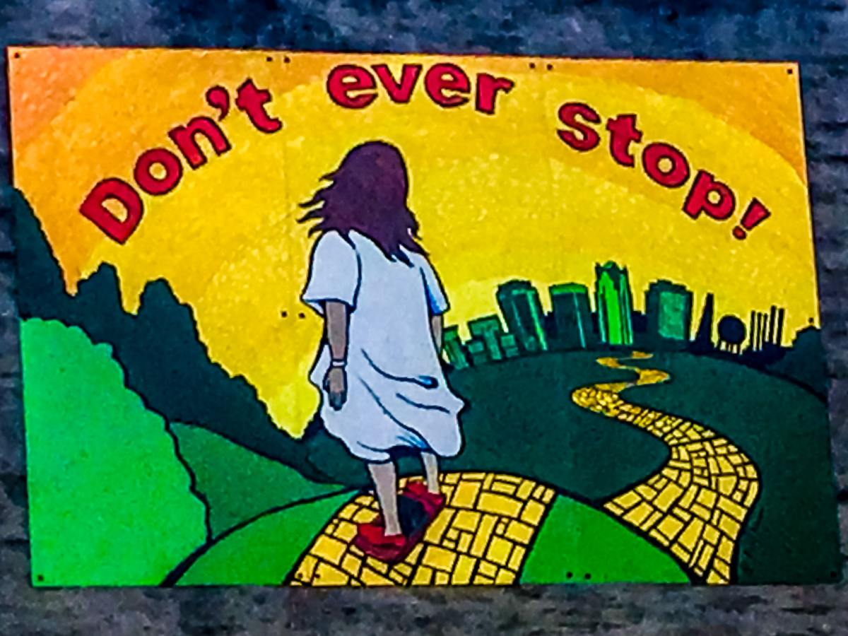 """""""Don't ever stop"""" mural of Mark Lindsey, aka Onewheel Jesus inspires all in downtown Birmingham"""