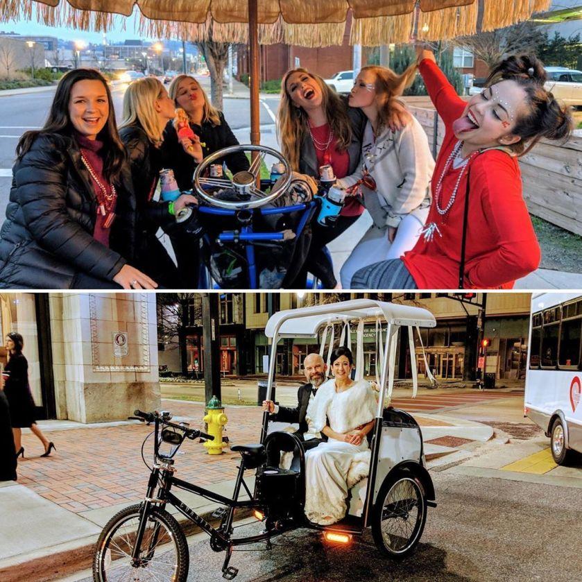 Birmingham, Alabama, The Battery, Birmingham Pedal Tours, wedding party, getaway ride