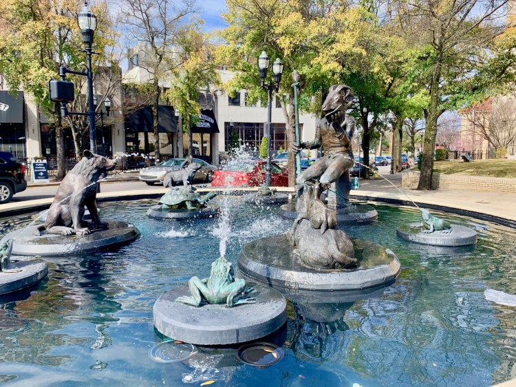 The Five Points South fountain in the middle of Five Points. (Photo by Christine Hull for Bham Now)