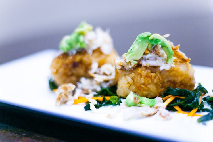 Lump crabcakes with seaweed and cilantro salad with fresh avocado. Photo by Jae the El photography