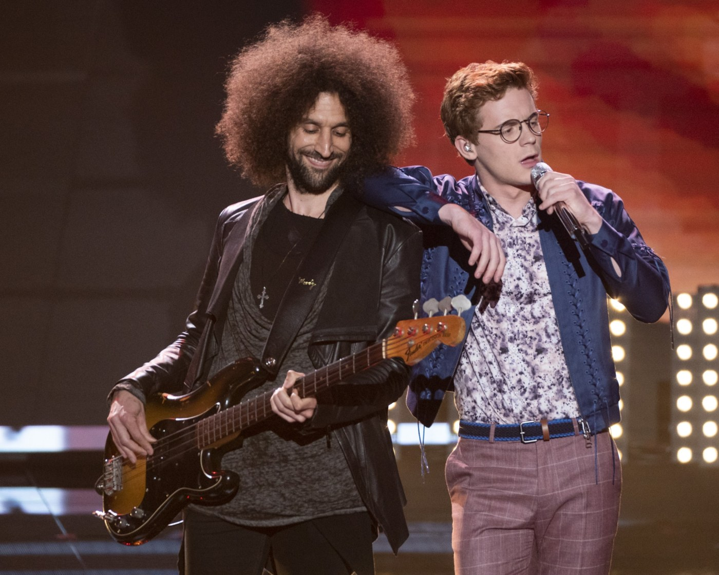 """Burroughs (pictured right) sang Queen's """"Crazy Little Thing Called Love"""" on Episode 15 of American Idol. (ABC/Eric McCandless)"""