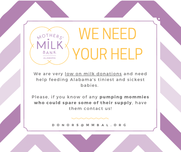 Mother's Milk Bank of Alabama has a number of ways you can get involved.