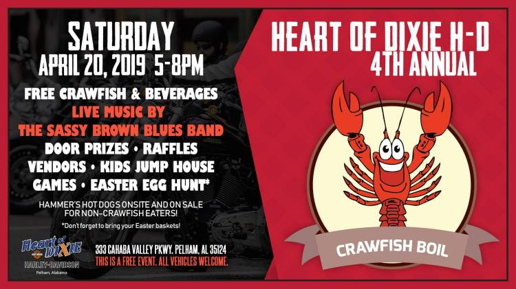 Birmingham, Alabama, crawfish, Heart of Dixie Harley-Davidson