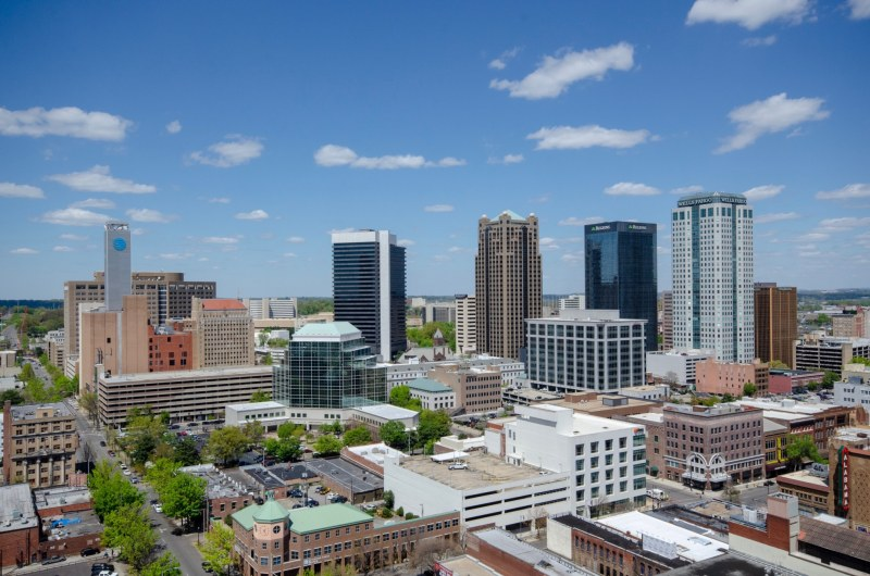 A view of Birmingham's finance and theatre district from TJ Tower. Photo by Jon Eastwood for Bham Now.