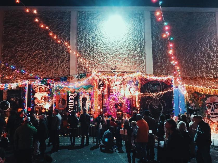 Photo of Dia de los Muertos nighttime celebration at Pepper Place in Birmingham, Alabama, in 2018.