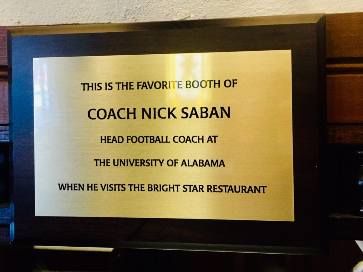 Check out the new Nick Saban Booth at The Bright Star in Bessemer (photos)