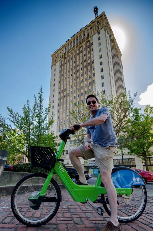A Zyp Bike station is conveniently located outside TJ Tower. Photo by Jon Eastwood for Bham Now