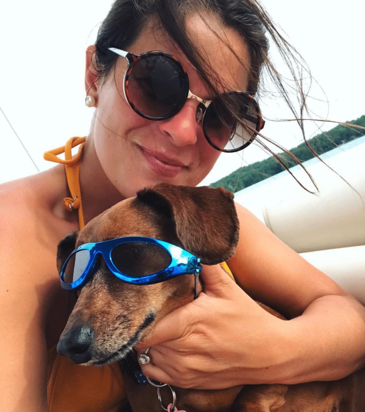 Christine and  her dachshund Olive P. Hull.