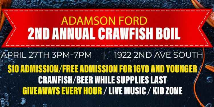 Birmingham, Alabama, crawfish boil, Adamson Ford
