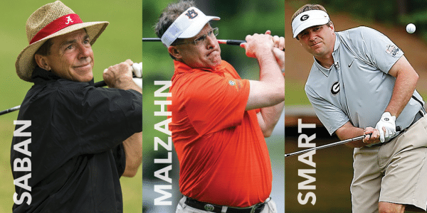 Coaches Gus Malzahn and Kirby Smart will compete in the  Pro-Am Wednesday, May 8.  Nick Saban will attend as a special guest of the tournament.
