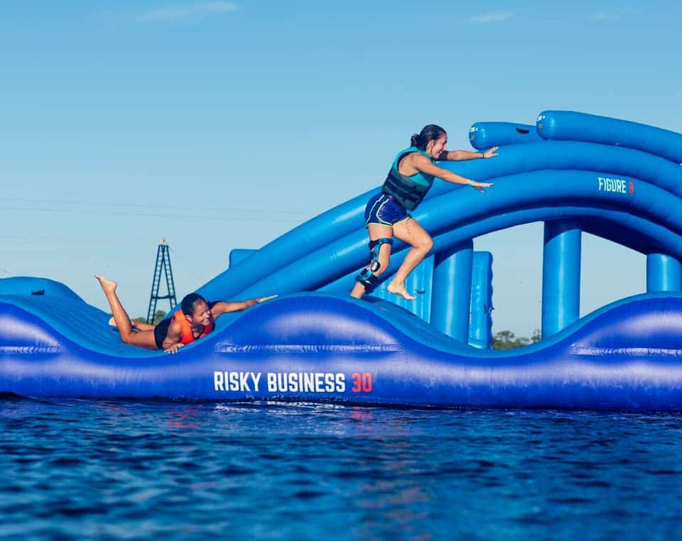 The inflatable water park at Oak Mountain State Park is now open