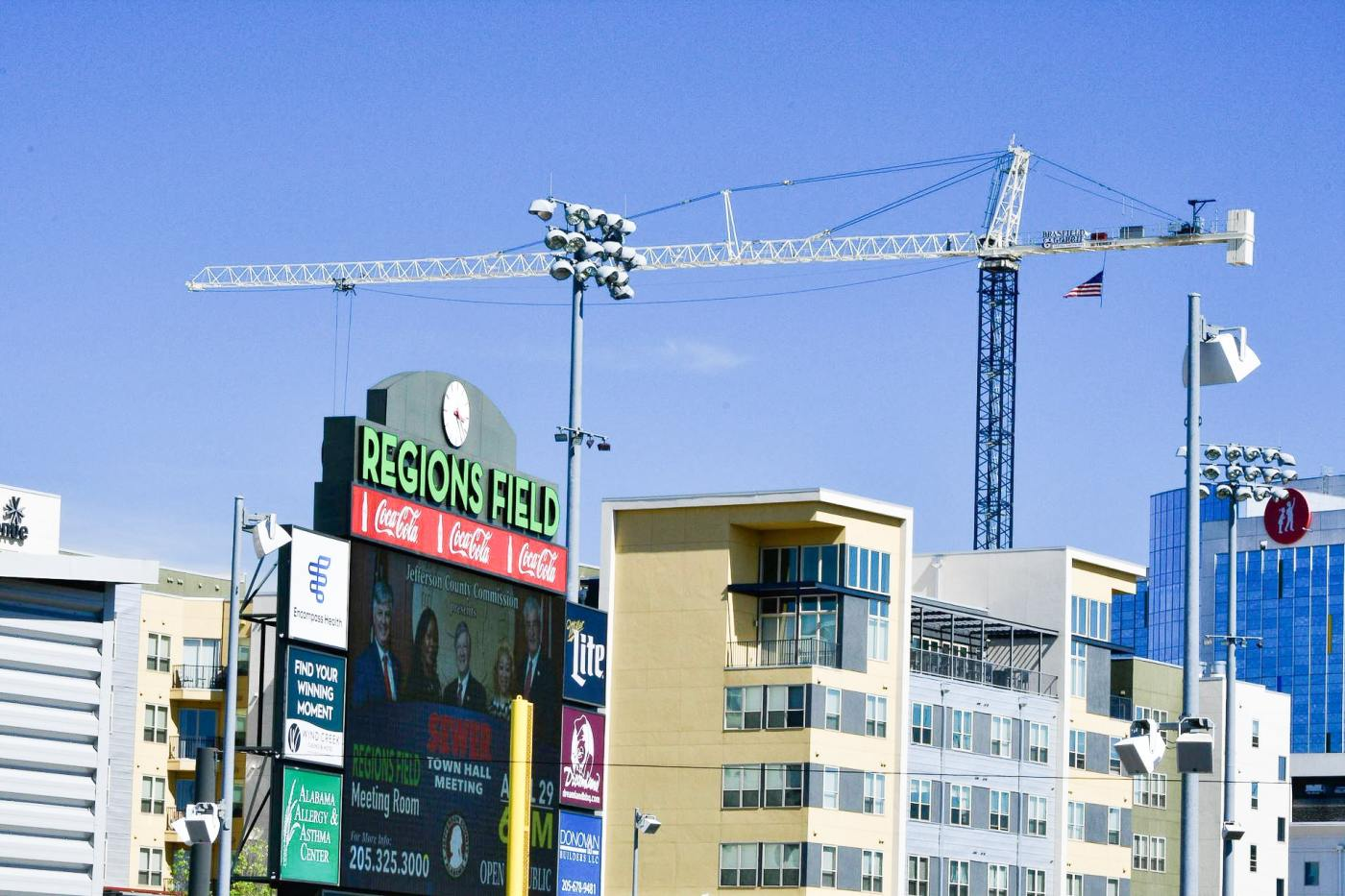 Cranes are a common sight in Parkside as the area continues to grow! Photo by Bham Now