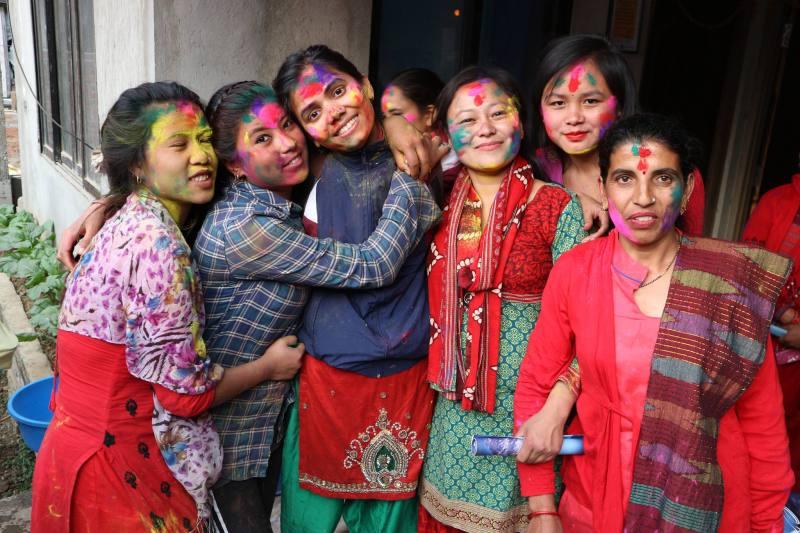 Women in Nepal celebrating a festival.