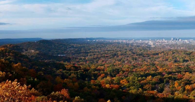 Ruffner Mountain has amazing views of Birmingham.