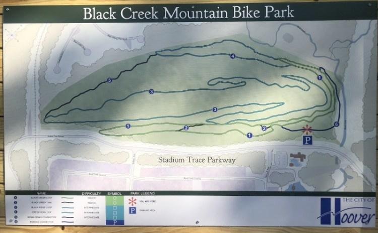 Information board showing mountain bike trails at Black Creek Mountain Bike Park