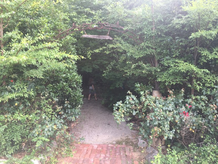 A gravel path leads through this lush archway to Birmingham Eastside EcoGardens, one of several community gardens in Birmingham.