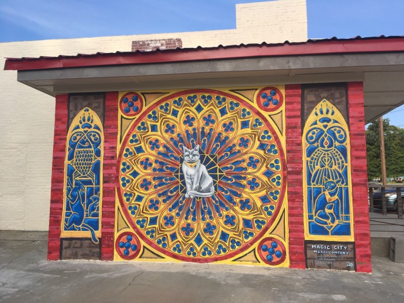 "Here's the finished ""Cat Sanctuary"" mural."