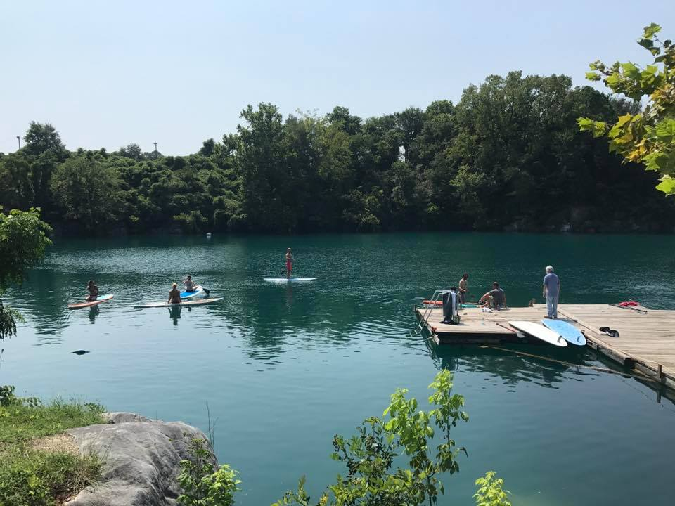 People paddle boarding