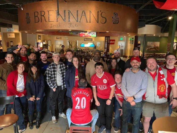 Manchester United supporters at Brennans Irish Pub Birmingham, AL