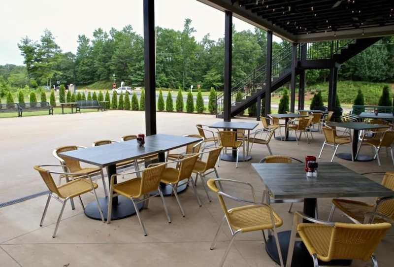 Outside dining at On Tap Sports Cafe Liberty Park
