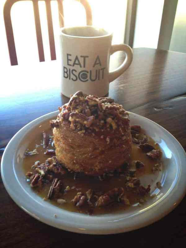 Pecan and syrup covered biscuit at Alabama Biscuit Company in Cahaba Heights.