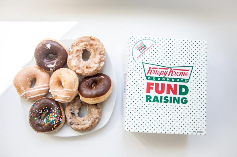 Krispy Kreme doughnuts on a plate from the new online ordering and delivery service