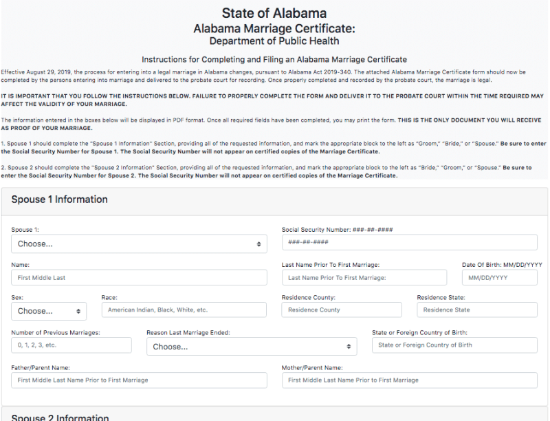The top half of the new marriage certificate form under Alabama's new marriage law